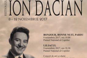 """Festivalul """"Ion Dacian""""  08 – 12 noiembrie 2017"""